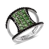 Brazilian Mint Garnet, Thai Black Spinel Platinum Over Sterling Silver Double Band Split Ring (Size 5.0) TGW 2.66 cts.