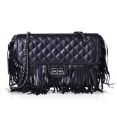 J Francis - Black Checkered Fringe Faux Leather Shoulder Bag (9.5x3x9 in)