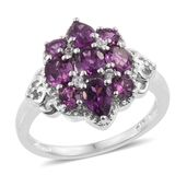 Mahenge Umbalite, Cambodian Zircon Platinum Over Sterling Silver Ring (Size 7.0) TGW 2.73 cts.