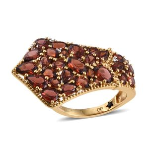 GP Mozambique Garnet, White Zircon 14K YG Over Sterling Silver Ring (Size 8.0) TGW 8.32 cts.