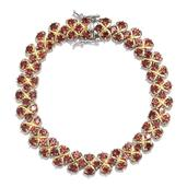 Everlasting by Katie Rooke Mozambique Garnet Platinum Over Sterling Silver Bracelet (7.50 In) TGW 11.650 cts.