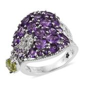 GP Hebei Peridot, Amethyst, White Topaz Platinum Over Sterling Silver Ring (Size 7.0) TGW 5.85 cts.
