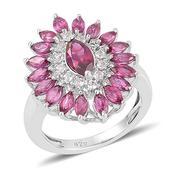 Orissa Rhodolite Garnet, White Topaz Sterling Silver Ring (Size 7.0) TGW 2.750 cts.