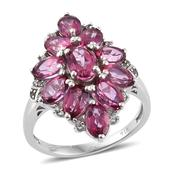 Pure Pink Mystic Topaz, White Zircon Platinum Over Sterling Silver Ring (Size 5.0) TGW 6.95 cts.