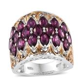 Purple Garnet 14K YG and Platinum Over Sterling Silver Ring (Size 6.0) TGW 6.200 cts.