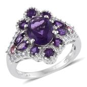 Lusaka Amethyst, Pink Tourmaline, Cambodian Zircon Platinum Over Sterling Silver Ring (Size 6.0) TGW 4.330 cts.