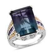 Bi-color Fluorite, Tanzanite, White Zircon 14K YG and Platinum Over Sterling Silver Ring (Size 8.0) TGW 19.95 cts.