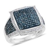 Blue Diamond (IR), Diamond Blue Rhodium & Platinum Over Sterling Silver Ring (Size 7.0) TDiaWt 1.00 cts, TGW 1.00 cts.