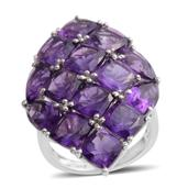 Lusaka Amethyst Platinum Over Sterling Silver Cluster Ring (Size 7.0) TGW 13.160 cts.