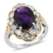 Lusaka Amethyst, Ethiopian Welo Opal 14K YG and Platinum Over Sterling Silver Ring (Size 6.0) TGW 6.500 cts.