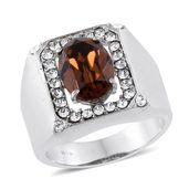 Stainless Steel Men's Ring (Size 12.0) Made with SWAROVSKI Brown and White Crystal
