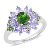 Russian Diopside, Tanzanite Sterling Silver Ring (Size 8.0) TGW 2.150 cts.