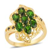 Russian Diopside, London Blue Topaz, White Topaz 14K YG Over Sterling Silver Openwork Ring (Size 9.0) TGW 3.65 cts.