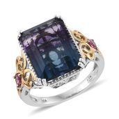 Bi-color Fluorite, Pink Tourmaline 14K YG and Platinum Over Sterling Silver Ring (Size 8.0) TGW 15.25 cts.