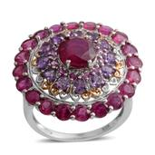 Niassa Ruby, Lusaka Amethyst, Madagascar Pink Sapphire 14K YG and Platinum Over Sterling Silver Statement Ring (Size 9.0) TGW 9.80 cts.