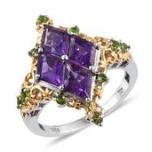Lusaka Amethyst, Russian Diopside 14K YG and Platinum Over Sterling Silver Ring (Size 7.0) TGW 6.790 cts.
