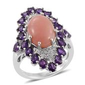 Peruvian Pink Opal, Amethyst, White Zircon Platinum Over Sterling Silver Elongated Ring (Size 6.0) TGW 8.15 cts.
