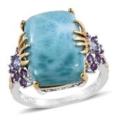 Larimar, Tanzanite, Amethyst 14K YG and Platinum Over Sterling Silver Ring (Size 7.0) TGW 17.420 cts.