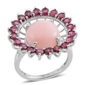 Peruvian Pink Opal, Orissa Rhodolite Garnet Platinum Over Sterling Silver Openwork Statement Ring (Size 9.0) TGW 9.55 cts.