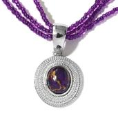 KARIS Collection - Mojave Purple Turquoise Platinum Bond Brass Pendant With Seed Bead Chain (20 in) TGW 35.050 Cts.
