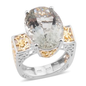Green Amethyst 14K YG and Platinum Over Sterling Silver Openwork Solitaire Ring (Size 10.0) TGW 11.580 cts.