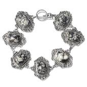 Artisan Crafted Pinolith Sterling Silver Bracelet (8.00 In) TGW 55.58 cts.