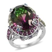 Watermelon Quartz, Multi Gemstone Platinum Over Sterling Silver Ring (Size 10.0) TGW 14.700 cts.