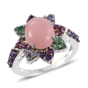 Peruvian Pink Opal, Multi Gemstone 14K YG and Platinum Over Sterling Silver Ring (Size 7.0) TGW 5.60 cts.