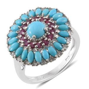 Arizona Sleeping Beauty Turquoise, Orissa Rhodolite Garnet, Cambodian Zircon Platinum Over Sterling Silver Ring (Size 7.0) TGW 3.82 cts.