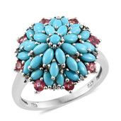 Mahenge Pink Spinel, Arizona Sleeping Beauty Turquoise, Cambodian Zircon Platinum Over Sterling Silver Ring (Size 10.0) TGW 3.380 cts.