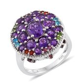 Lusaka Amethyst, Multi Gemstone Platinum Over Sterling Silver Cluster Ring (Size 7.0) TGW 6.08 cts.