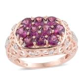 Purple Garnet, White Topaz 14K RG Over Sterling Silver Openwork Ring (Size 7.0) TGW 3.97 cts.