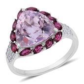 Rose De France Amethyst, Orissa Rhodolite Garnet, White Zircon Sterling Silver Ring (Size 9.0) TGW 7.58 cts.