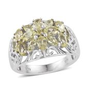 Brazilian Canary Chrysoberyl Platinum Over Sterling Silver Openwork Ring (Size 8.0) TGW 3.31 cts.