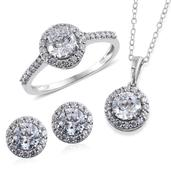 J Francis - Platinum Over Sterling Silver Stud Earrings, Ring (Size 6) and Pendant With Chain (20 in) Made with SWAROVSKI ZIRCONIA TGW 9.120 cts.