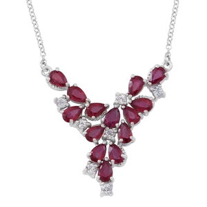 Niassa Ruby, White Topaz Sterling Silver V-Shape Princess Necklace (18 in) TGW 8.50 cts.