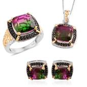 Watermelon Quartz, Thai Black Spinel 14K YG and Platinum Over Sterling Silver Stud Earrings, Ring (Size 10) and Pendant With Chain (20 in) TGW 30.510 cts.