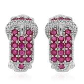 Burmese Ruby, White Zircon Sterling Silver Omega Clip Buckle Earrings TGW 2.620 Cts.