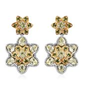 Brazilian Canary Chrysoberyl, Russian Diopside 14K YG and Platinum Over Sterling Silver Dangle Earrings TGW 3.44 cts.