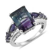 Bi-color Fluorite, Catalina Iolite Platinum Over Sterling Silver Ring (Size 9.0) TGW 10.38 cts.