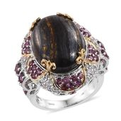Tiger Iron, Multi Gemstone 14K YG and Platinum Over Sterling Silver Ring (Size 7.0) TGW 31.97 cts.