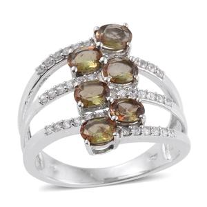 Jenipapo Andalusite, White Zircon Platinum Over Sterling Silver Bypass Ring (Size 9.0) TGW 2.38 cts.