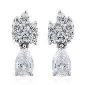 J Francis - Platinum Over Sterling Silver Drop Earrings Made with SWAROVSKI ZIRCONIA TGW 4.85 cts.