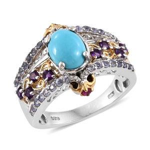 Arizona Sleeping Beauty Turquoise, Multi Gemstone 14K YG and Platinum Over Sterling Silver Bridge Ring (Size 9.0) TGW 2.57 cts.