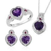 Uruguayan Amethyst, Ruby Platinum Over Sterling Silver Heart Earrings, Ring (Size 9) and Pendant With Chain (20 in) TGW 5.37 cts.