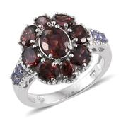 Red Zircon, Tanzanite Platinum Over Sterling Silver Ring (Size 7.0) TGW 6.200 cts.