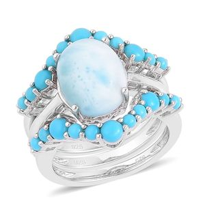 Larimar, Arizona Sleeping Beauty Turquoise Sterling Silver Set of 3 Stackable Rings (Size 9) TGW 4.870 cts.