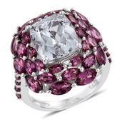 Urukun Kunzite, Orissa Rhodolite Garnet Platinum Over Sterling Silver Ring (Size 7.0) TGW 14.39 cts.