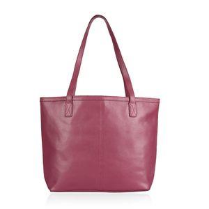 Purple 100% Genuine Leather RFID Tote Bag (12.5x5x12 in)