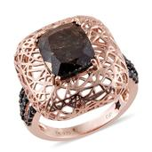 GP Chocolate Sapphire, Thai Black Spinel 14K RG Over Sterling Silver Openwork Ring (Size 8.0) TGW 7.500 cts.